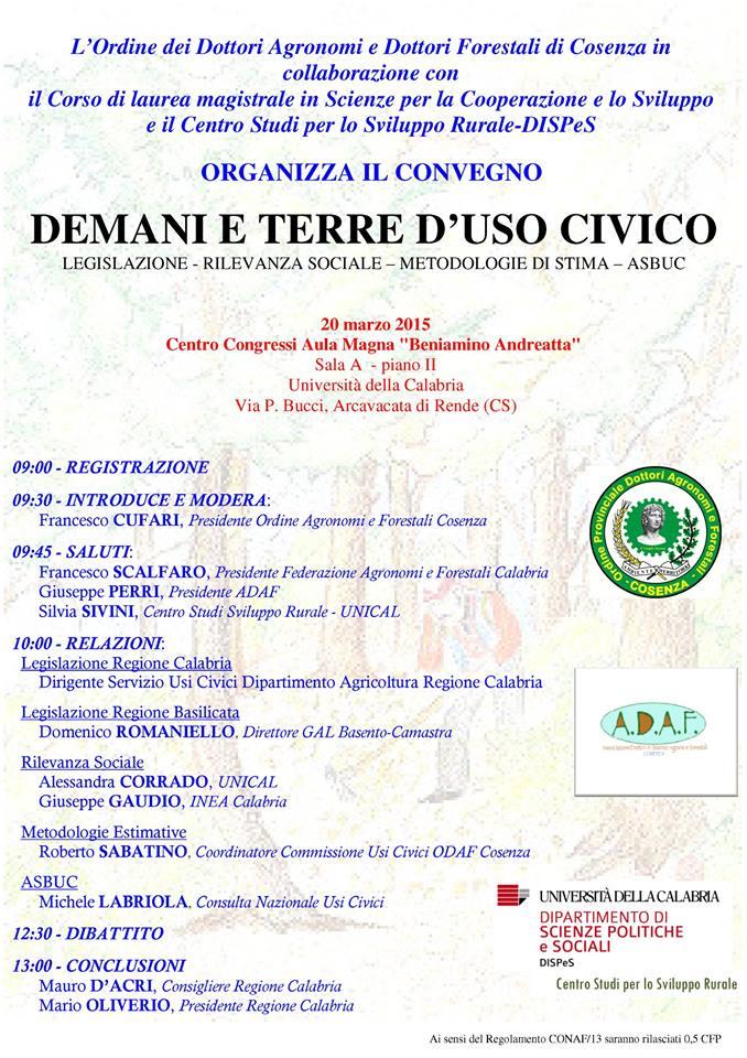 Locandina convegno 20 marzo 2015 Cosenza